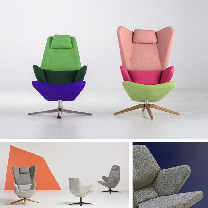 Design-selv lænestolen Trifidae fra Prostoria kan sammensættes på mange forskellige måder. Udover valg af størrelse, fødder og kvalitet har du mulighed for at lege med farverne. Trifidae lænestolen kan vælges som ensfarvet, to farvet eller trefarvet efter dit valg. Det er kun fantasien der sætter grænser.