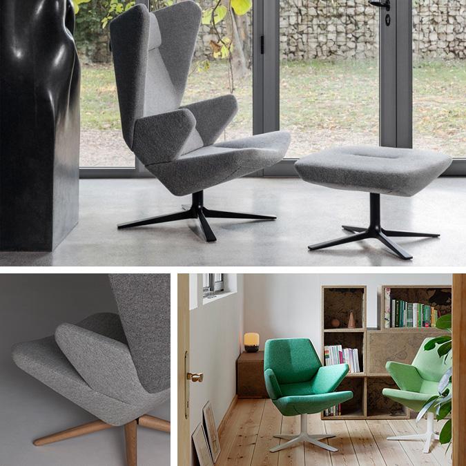 Design-selv lænestol fra Prostoria med mange muligheder, der her er vist i en grå og grøn udgave. Lænestolen hedder Trifidae og kan sammensættes på mange forskellige måder blandt andet med højde på ryglæn, mange forskellige muligheder for fødder og kvaliteter. Når man sætter sig i lænestolen føler man sig omfavnet takket være dens design og et behageligt let vippet sæde. En flot og komfortabel lænestol, som du kan købe her hos BoShop.