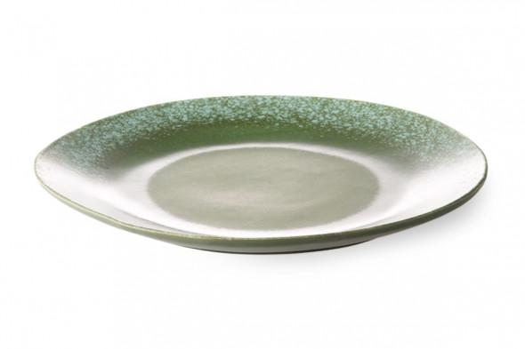 Billede af 70'er keramik middagstallerken grøn hos BoShop - Borddækning i Aarhus og Aalborg.
