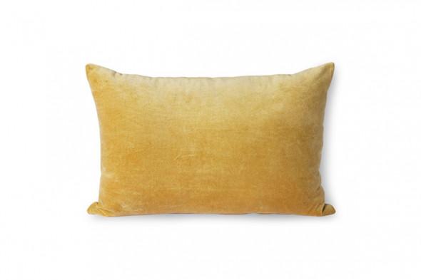 Billedet viser en velourpude i farven guld. Forhandles hos Boshop.