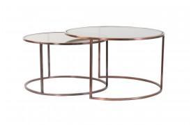 Her ses et billede af Duarte sofabordsæt med brun glasbordplade og stel i kobber look.