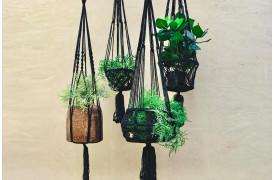 Her ses et billede af Macrame planteophæng i sort fra vores Unika Collection.