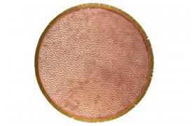 Super blødt tæppe med et geometrisk mønster og frynser til boligindretningen.