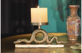 Slange-inspirerede bloklysestage i forgyldt aluminium fra Bold Monkey.