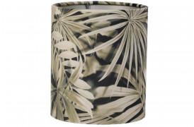 Velours er en elegant cylinderformet lampeskærm her i et print med palmer.