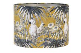 Velours er her en elegant cylinderformet lampeskærm med et flot print af fugle og palmer.