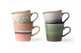 70'er keramik cappuccino kopper - 4 stk.