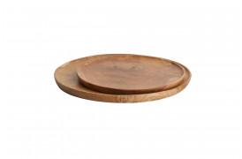 Her ses et billede af de runde teak platter fra vores Unika Collection.