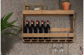 Vinflaske holder med plads til vinglas med denne Tres væghylde.