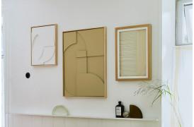 Framed relief art panel vægdekoration - Sand