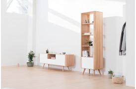Ena tv-bordet på 160 cm er med et hylderum og en skuffe samt to skabslåger.