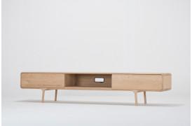 Fawn tv-bordet ses her i modellen med to push-to-open skuffer og fri midtersektion.