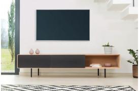 Tv-bord i egetræ med to 'push-to-open' skuffer med fronter i linoleum fra Gazzda.