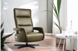 Kelso er en flot afslapningslænestol fra Indomo, der kan vælges i stof eller læder.