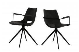 Her ser du et billede af Joe spisebordsstol i farven sort med armlæn og drejestel.