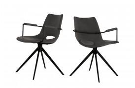 Her ser du et billede af Joe spisebordsstol i farven grey black med armlæn og drejestel.