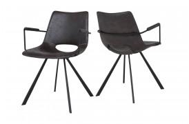 Her ser du et billede af Joe spisebordsstol i farven grey black med armlæn og 4 ben.