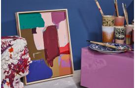 Her ses det abstrakte vægmaleri i 40 x 50 cm fra HKliving.
