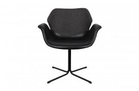 Billede af Nikki spisebordsstolen fra Zuiver i sort læder og mørkegråt stof.