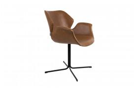 Her ses et billede af Nikki spisebordsstolen fra Zuiver i Brun læder.
