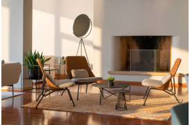Super flot boligindretning med Stain lænestolene med stole ryg i Brown.