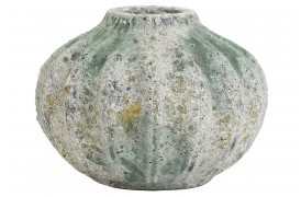 Keramik vasen Sabik i lysegrå og grønne rustikke nuancer