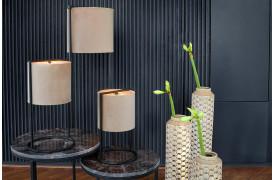 Her ses et billede af Santos gulvlampe og bordlampen i to størrelser.