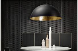 Rustik lampeserie der har et gyldent look på indersiden af lamperne.