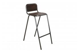 Her ses et billede af Factory jern barstol med ryglæn - kan stables fra vores Unika Collection.