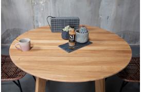 Flot rundt og fleksibelt spisebord her vist med Naturolieret eg og Retro 1 (E) ben.