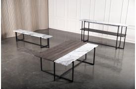 Shiva bordserien består af sofaborde og konsolborde i stål, træ og eksklusiv granit.