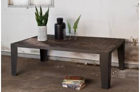 Yash sofabord i rå jern og genbrugstræ.