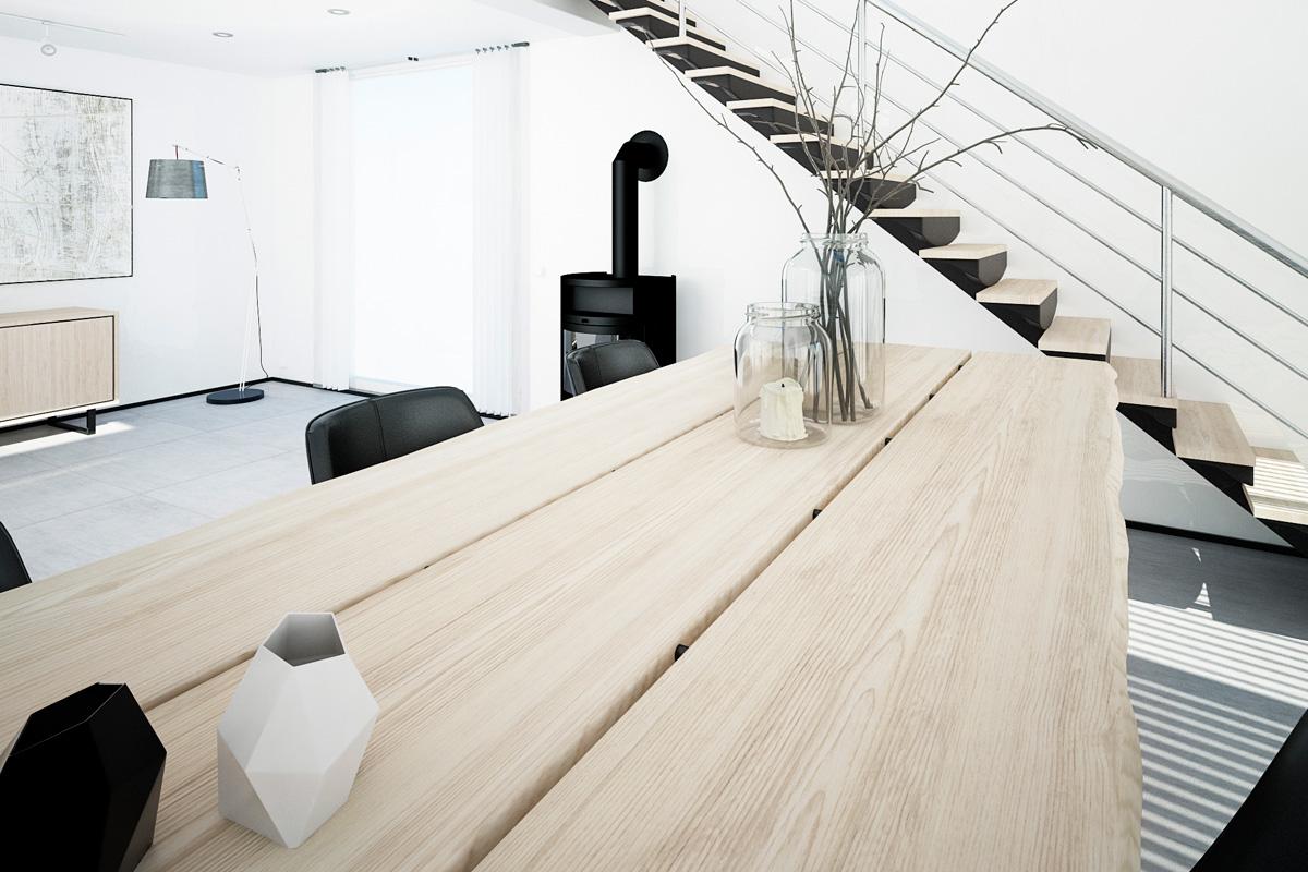 Det rustikke Forest plankebord / spisebord med planker ses på dette billede. Bordet kan du købe i eg her hos BoShop.