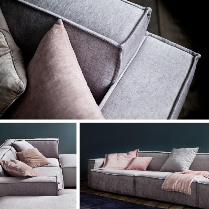 Karakteren af Upper East sofaen er markant defineret af dens markante syninger som det kan ses her på billedet. Samtidig med at den har en virkelig cool storby følelse over sig og vil appellere til folk, der foretrækker et mere afslappet look i stedet for hårde linjer og kanter på deres flyder sofa.